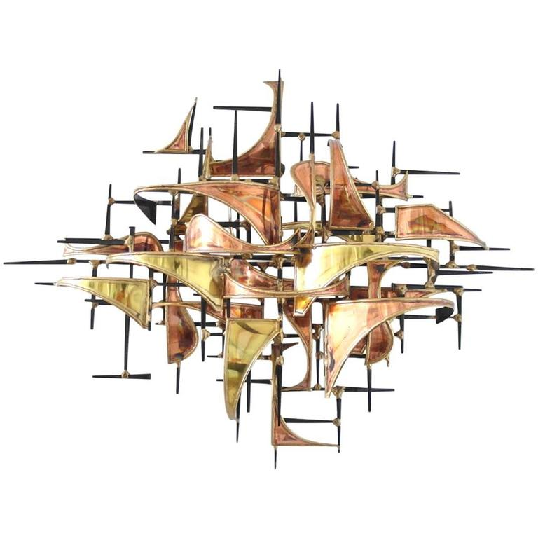 Copper and Brass Brutalist Wall Art Sculpture by Higgins at 1stdibs