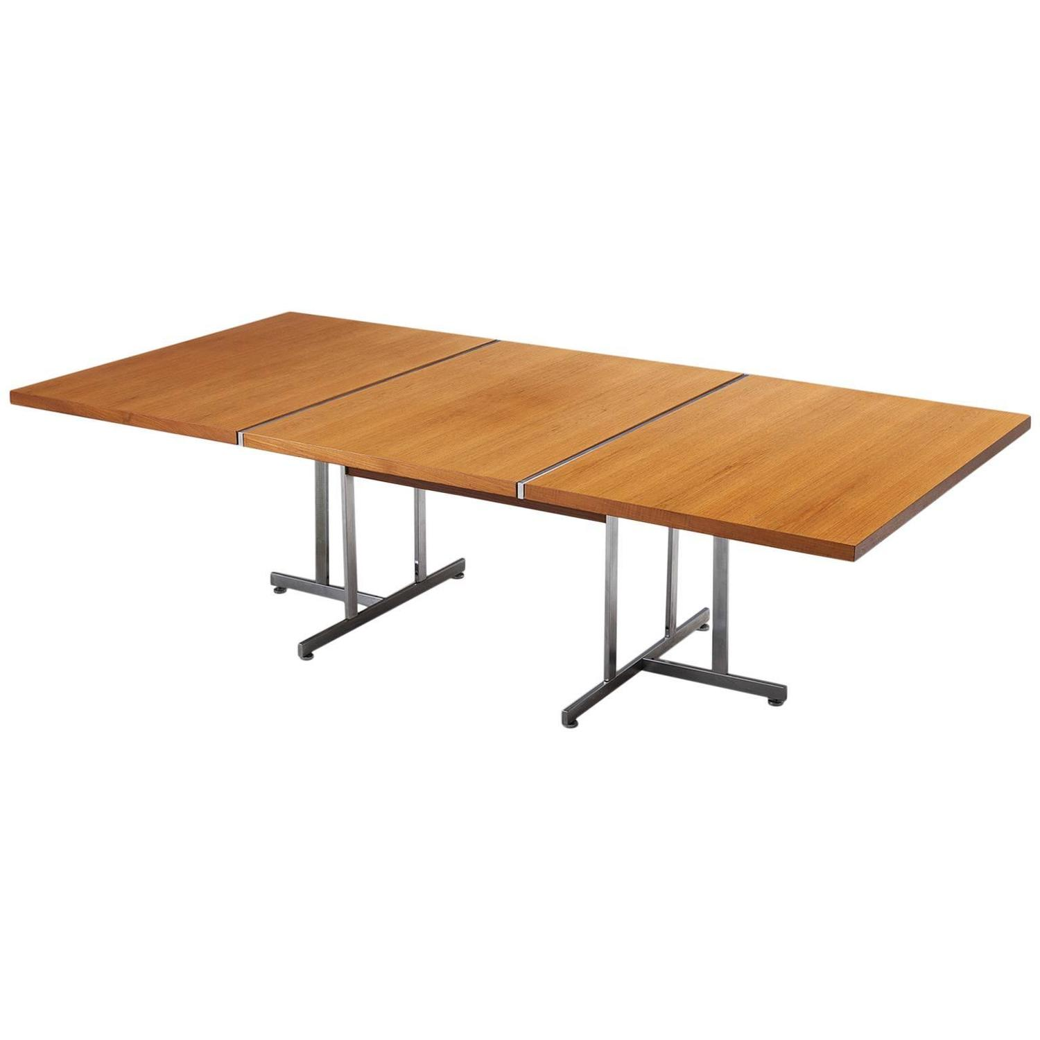Large Dining Table in Teak and Metal For Sale at 1stdibs