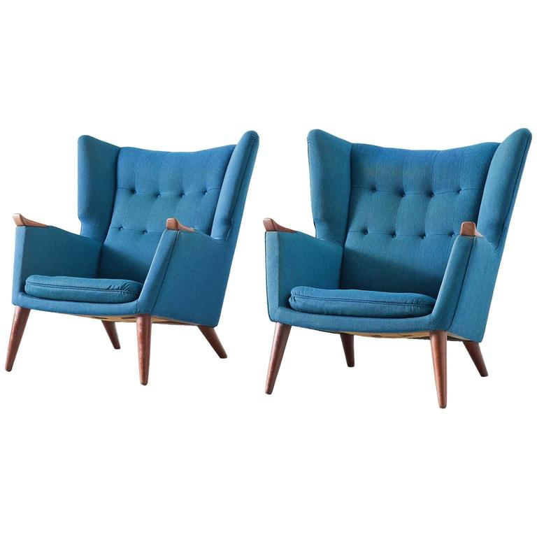 Kurt Ostervig Pair of Blue Lounge Chairs For Sale