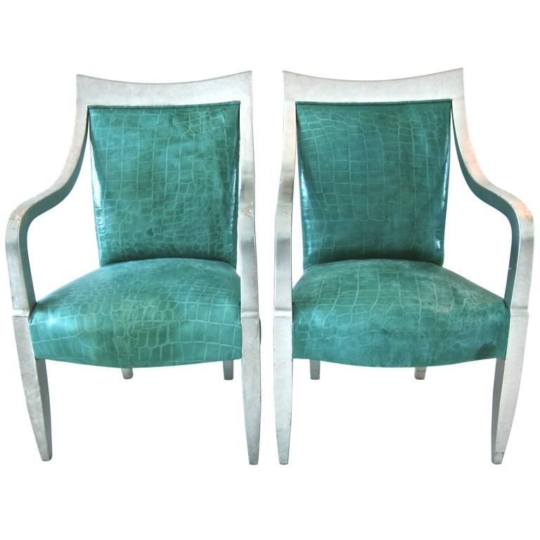 Pair of Donghia Silver Leaf and Crocodile Embossed Leather  : 4955553l from www.1stdibs.com size 768 x 768 jpeg 43kB