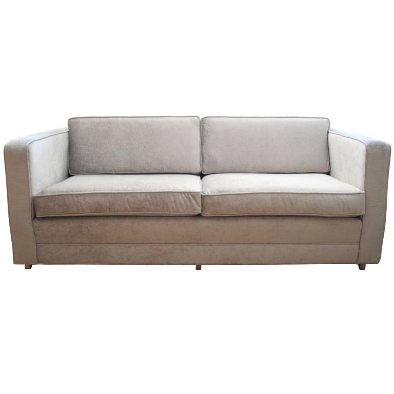 knoll love seat in distressed silver velvet at 1stdibs