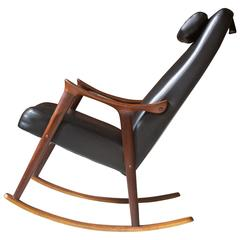 Ingmar Relling for Westnofa Sculpted Teak and Black Vinyl Rocking Chair