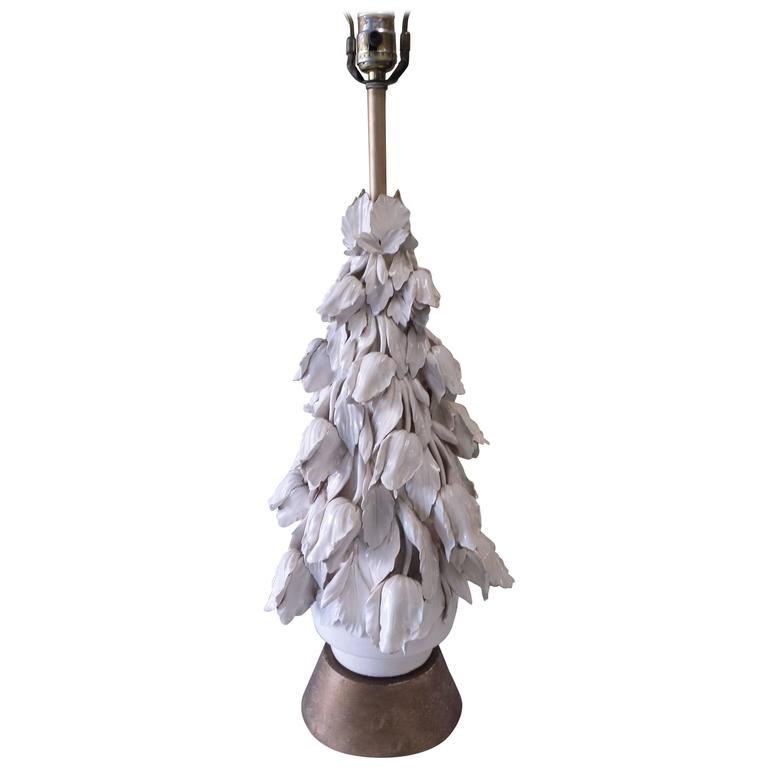 Italian White Ceramic Tulip Cluster Table  Lamp, circa 1950s
