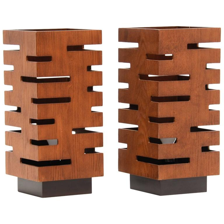 High Quality Monumental Table Lamps In The Style Of Frank Lloyd Wright For Sale