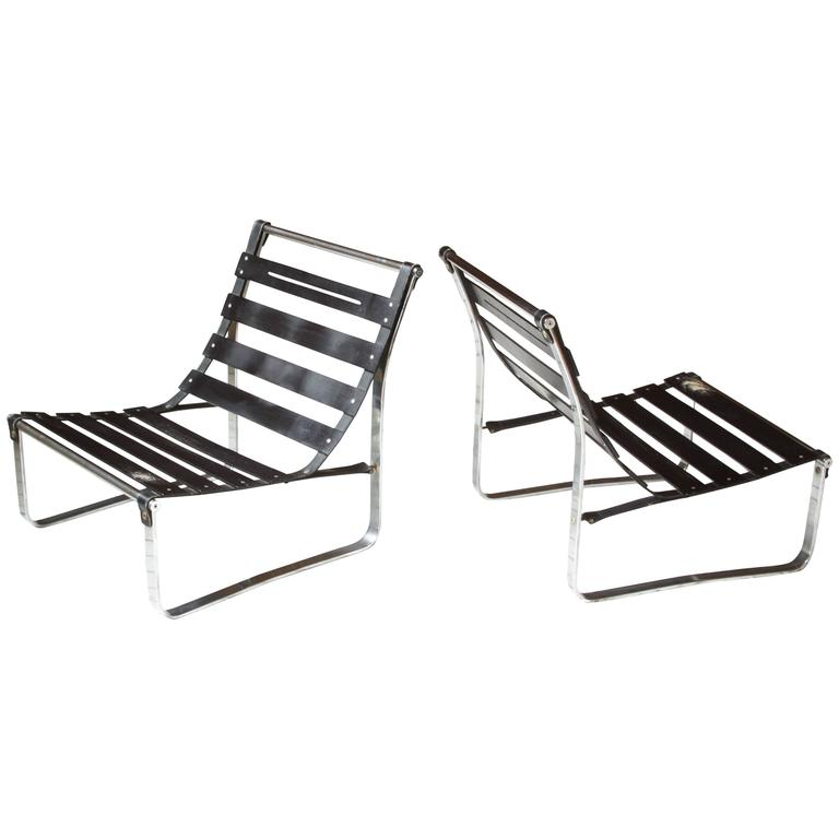 Pair of Kho Liang Ie Attributed Chrome and Leather Lounge Chair Frames, 1960s
