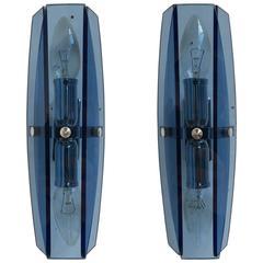 Pair of Italian Blue Glass and Chrome Fontana Arte Style Wall Sconces, 1980s