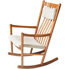 Vintage Hans Wegner for Tarm Stole Teak and Wool Rocking Chair, 1960s