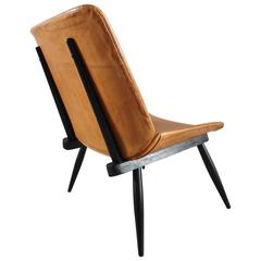 Tapiovaara Style Scandinavian Leather Easy Chair with Black Wooden Frame