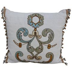 Italian Appliqued Linen Pillow with Fringe