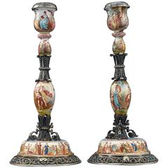 19th Century Viennese Enamel Candlesticks