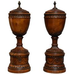 Pair of Early 20th Century Decorative Wooden Urns with Lids