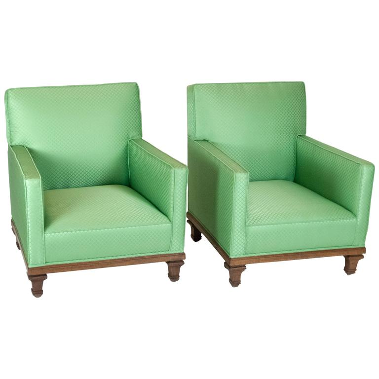 Pair of French Armchairs in the Style of Jean Michel Frank