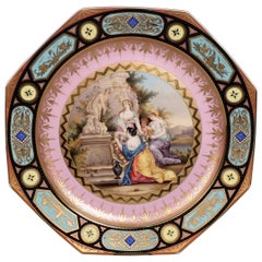 Antique Jeweled and Hand-Painted Pink Ground Royal Vienna Porcelain Charger