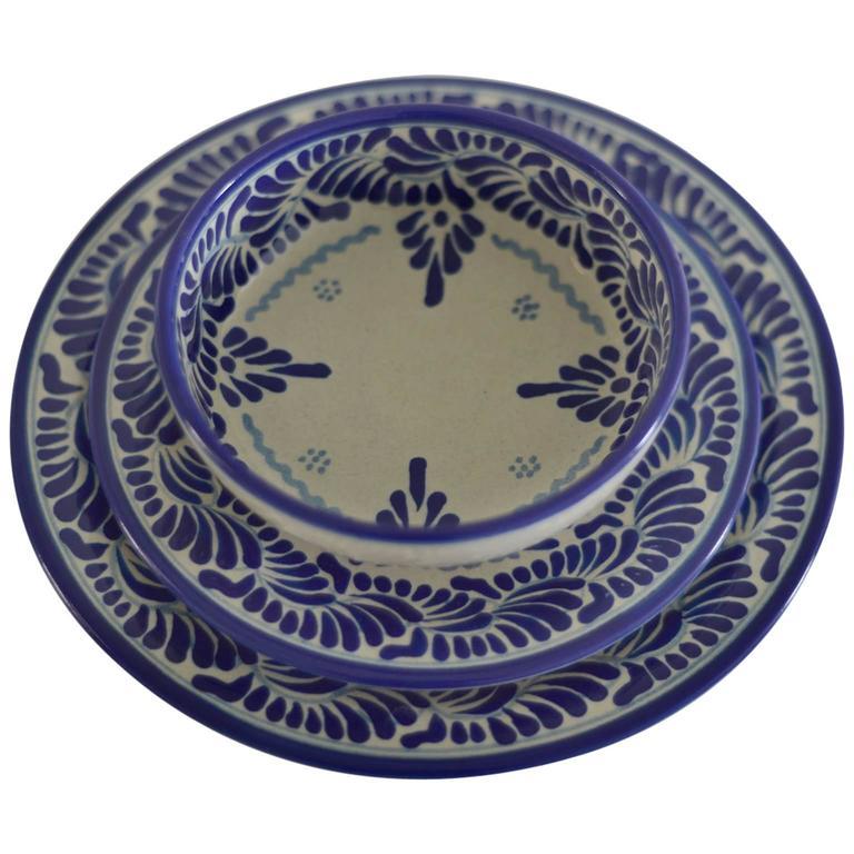 Blue and White Talavera Dinnerware Set Feather Design