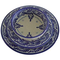 Blue and White Talavera Dinnerware Set Feather Design