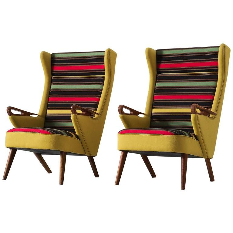 Colorful Pair of Danish Reupholstered Highback Chairs 1