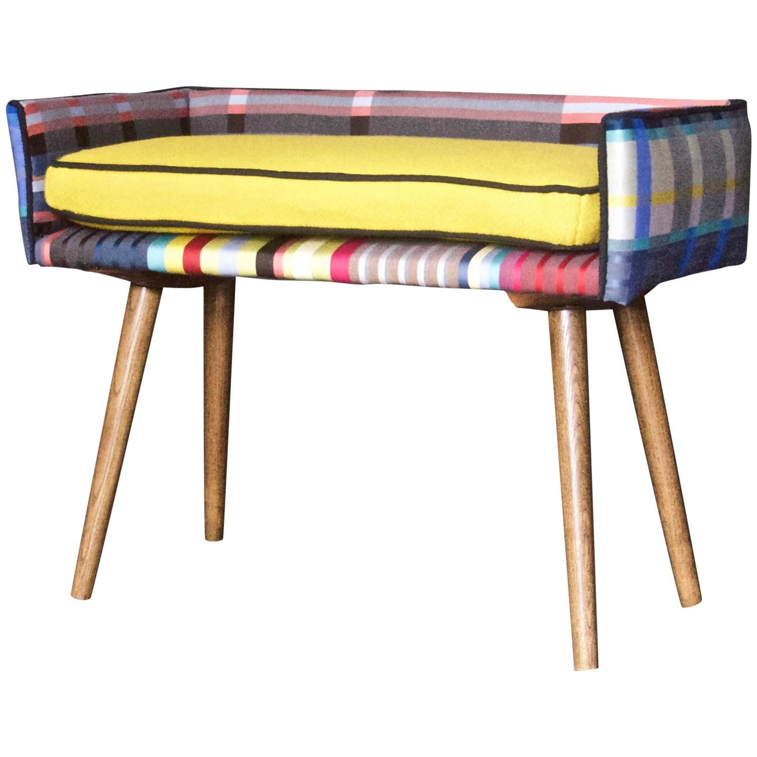Mid Century Inspired Mini Bench Summer Gold Seat At 1stdibs