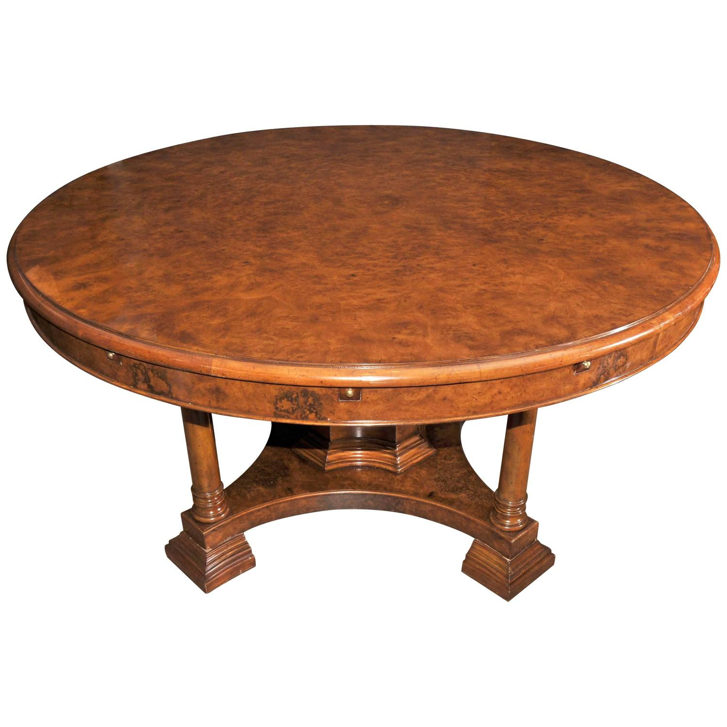 Walnut Regency Jupe Table Extending Round Dining Table At 1stdibs