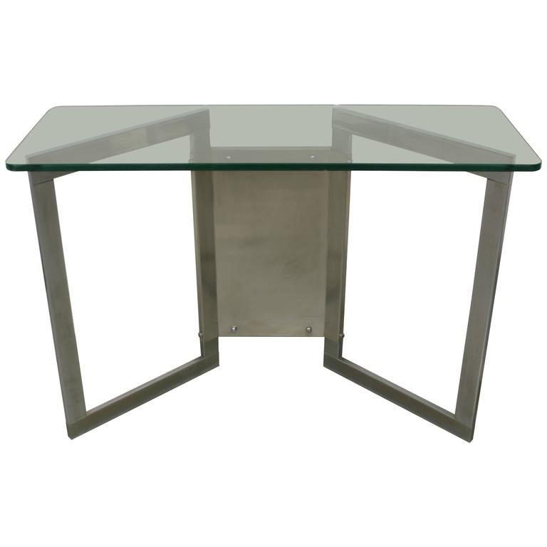 1970s Glass and Steel Console
