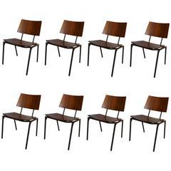 Eight Danish Iron and Teak Dining Chairs
