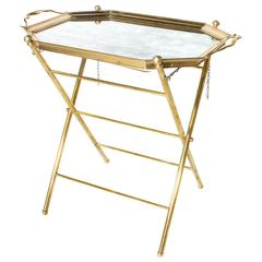 French Brass Tray Table with Removable Tray, circa 1950