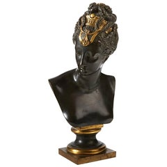 French Patinated and Gilt Bronze Bust, 19th Century