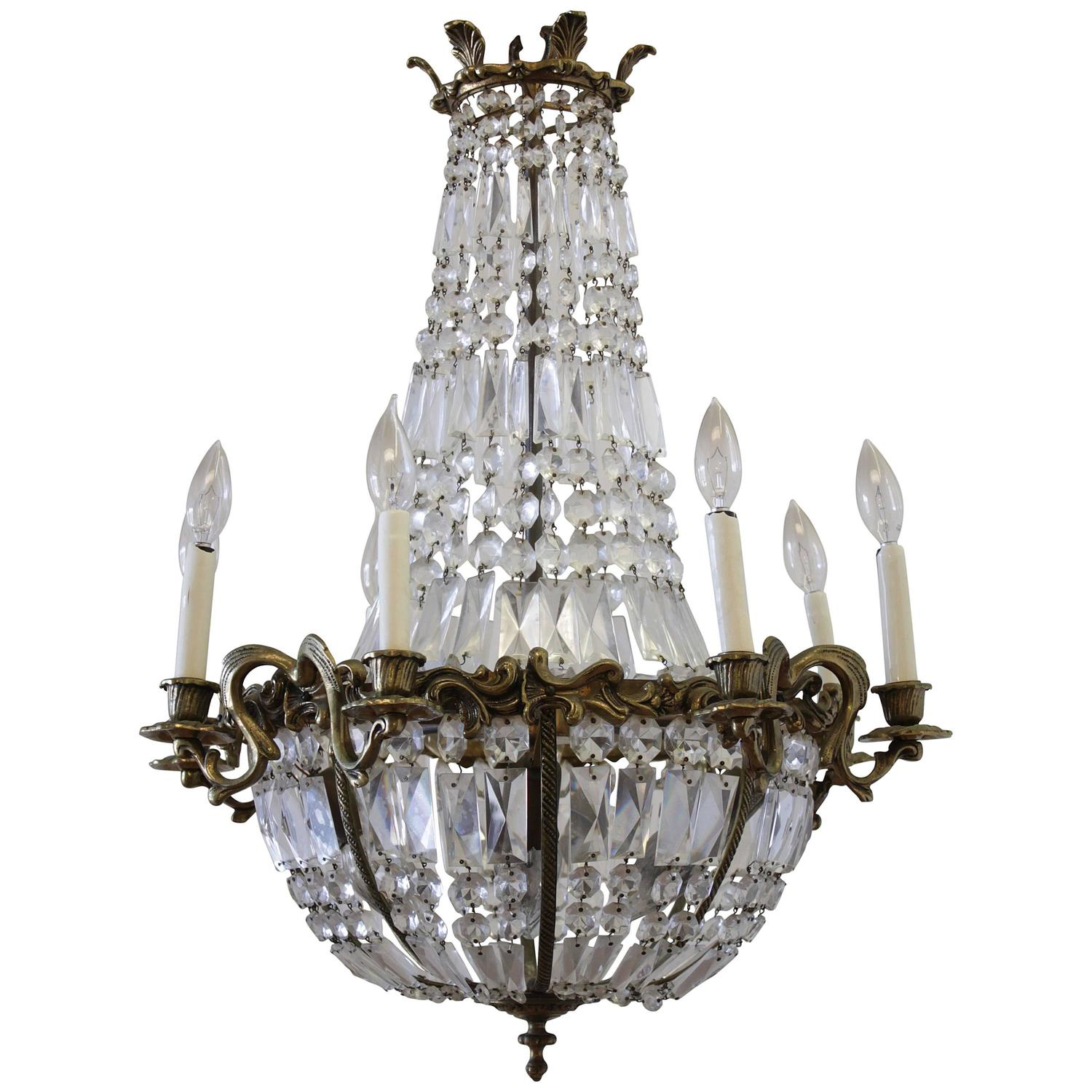 Antique Gilt Bronze Empire Style Chandelier with Crystals