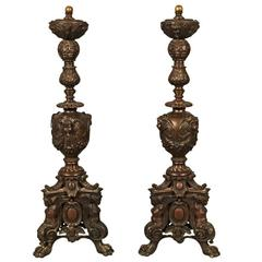 Pair Italian Renaissance Style Bronze Andirons, 19th Century