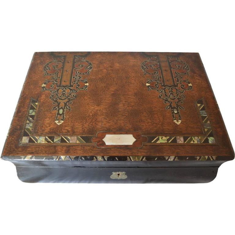Antique Lap Desk with Ebony Wood Inlay For Sale - Antique Lap Desk With Ebony Wood Inlay At 1stdibs