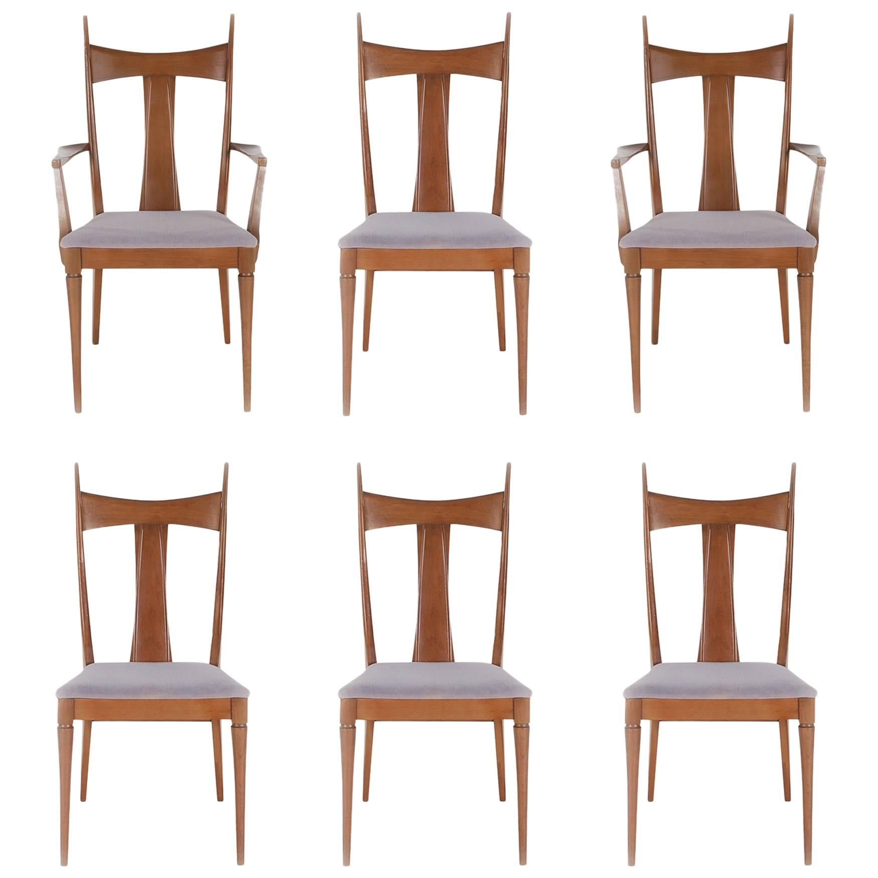 Mid-Century Modern Walnut Dining Chairs after Paul McCobb or Gio Ponti