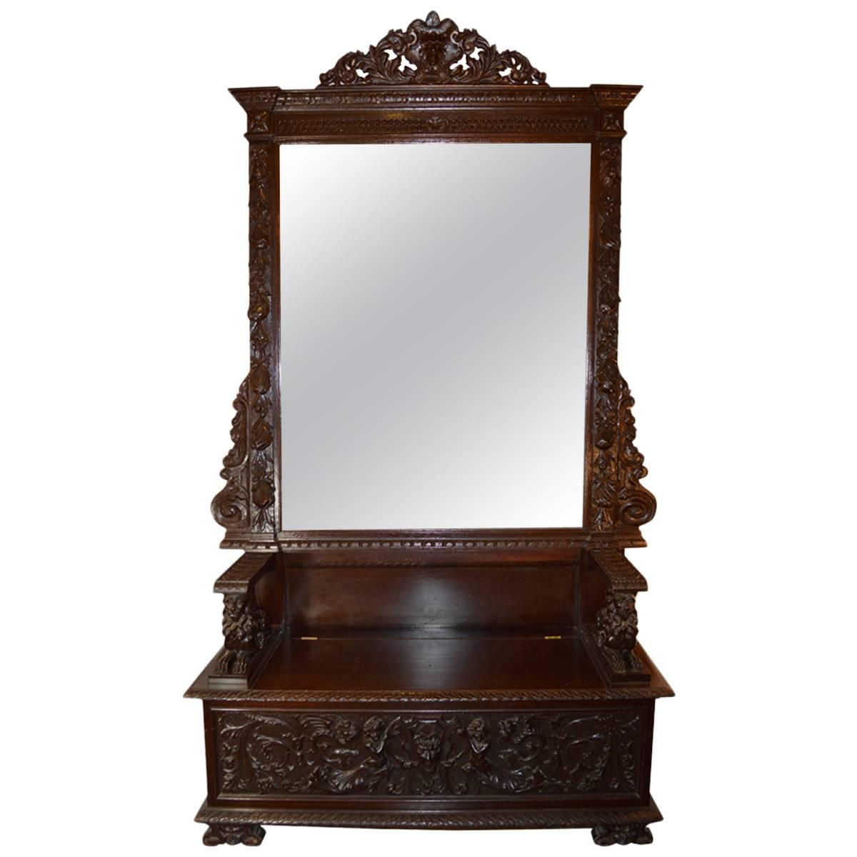 Antique Italian Hall Bench With Mirror For Sale At 1stdibs
