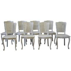 Set of Eight Painted Vintage French Cane Back Dining Chairs