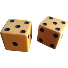 Pair of Large Vintage Butterscotch Bakelite Dice