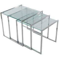 Mid-Century Modern Milo Baughman Chrome and Glass Nesting Table