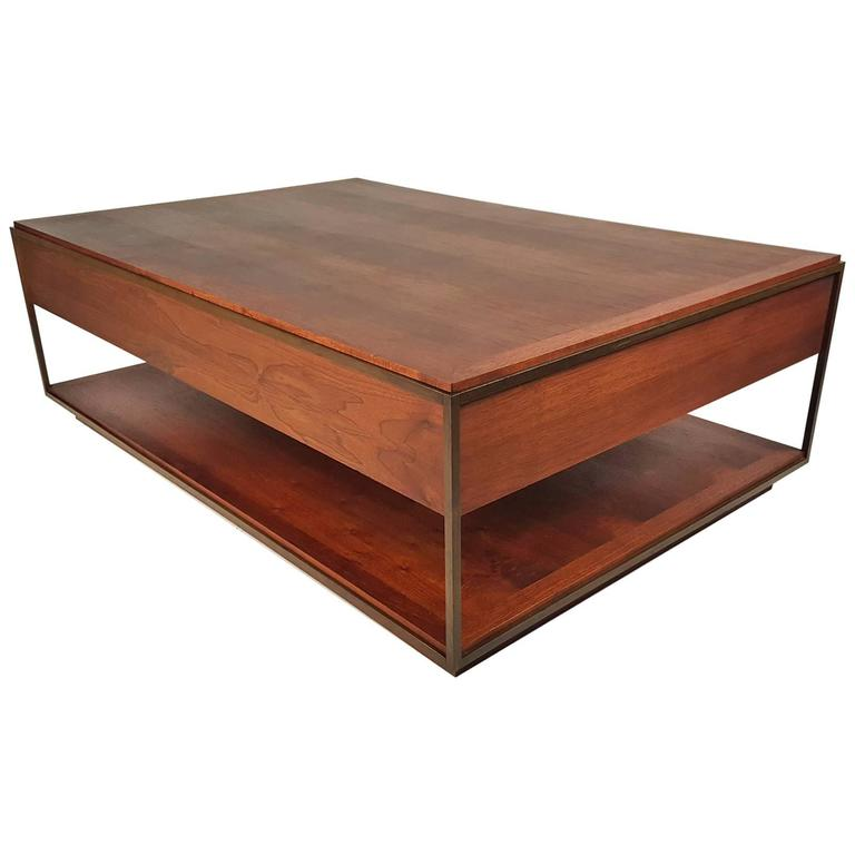 Custom 1960s architectural bronze and oiled walnut for Architectural coffee table