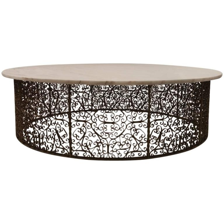 Extra Large Circular Wrought Iron and Marble Table