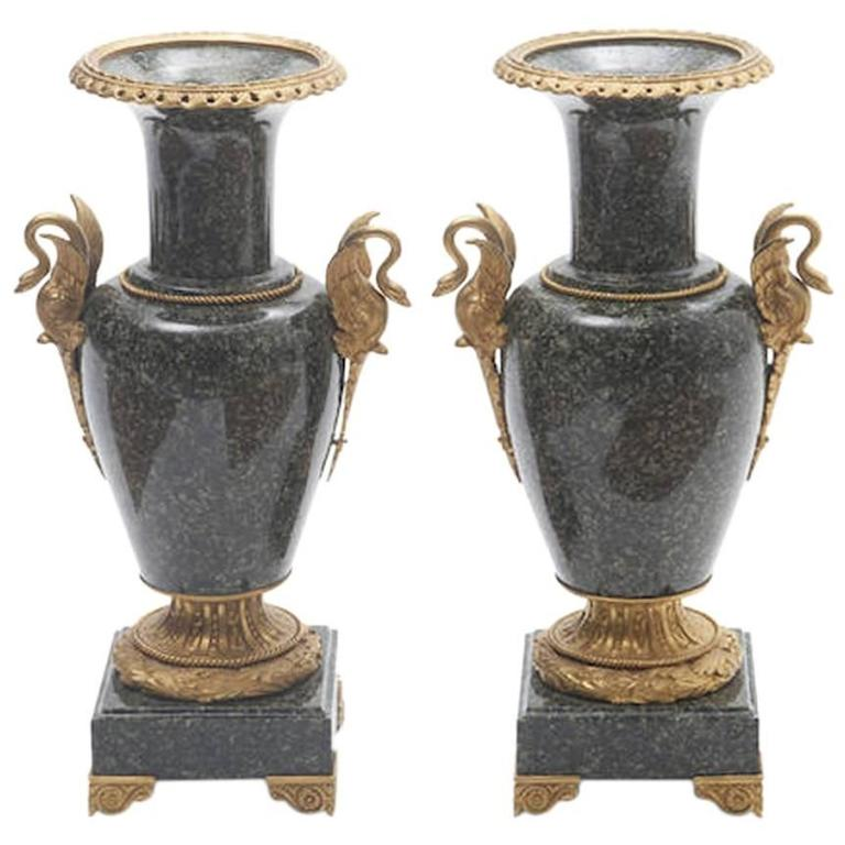 Pair of French Gilt Bronze-Mounted Marble Urns 1
