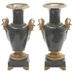 Pair of French Gilt Bronze-Mounted Marble Urns