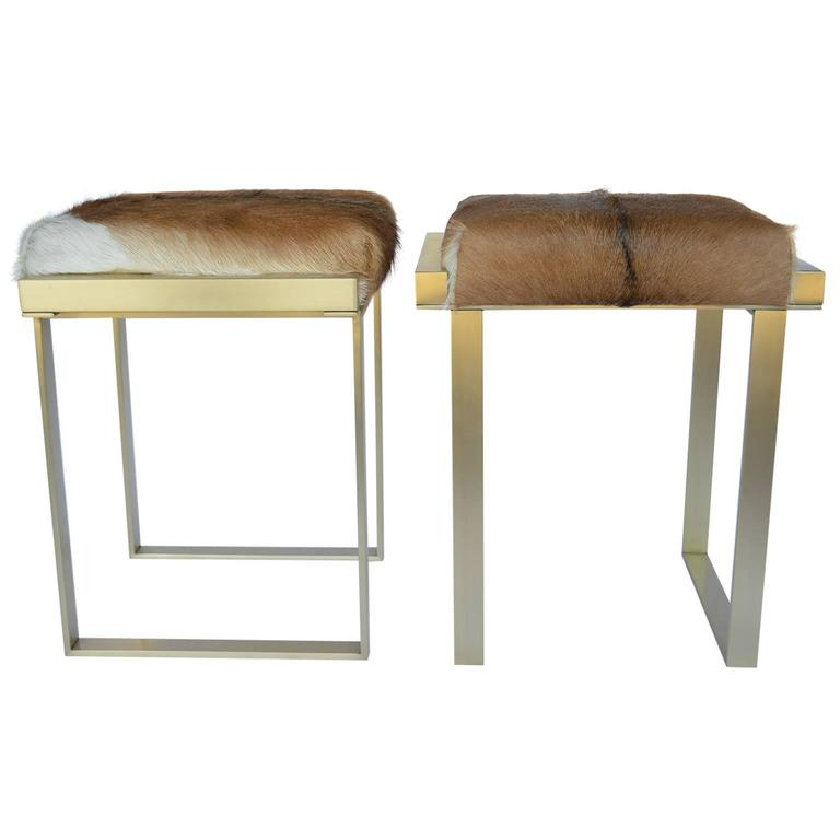 Pair of Brushed Brass Stools For Sale
