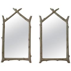 Pair of Faux Bois Wall Mirrors