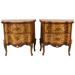 Pretty Pair of Italian Rococo Style Walnut Comodini