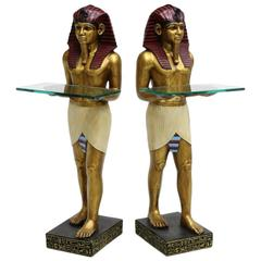 Pair of Venetian Painted Egyptian Motif Figures with Glass Shelves