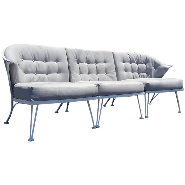 Rare Vintage Woodard Three-Pier Iron Sofa