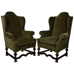 Pair of William & Mary Style Carved Wood & Upholstered Wing Chairs, 19th Century