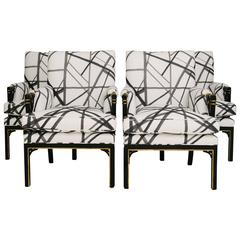 1940s Chippendale Style Chairs, Kelly Wearstler's Channels Fabric