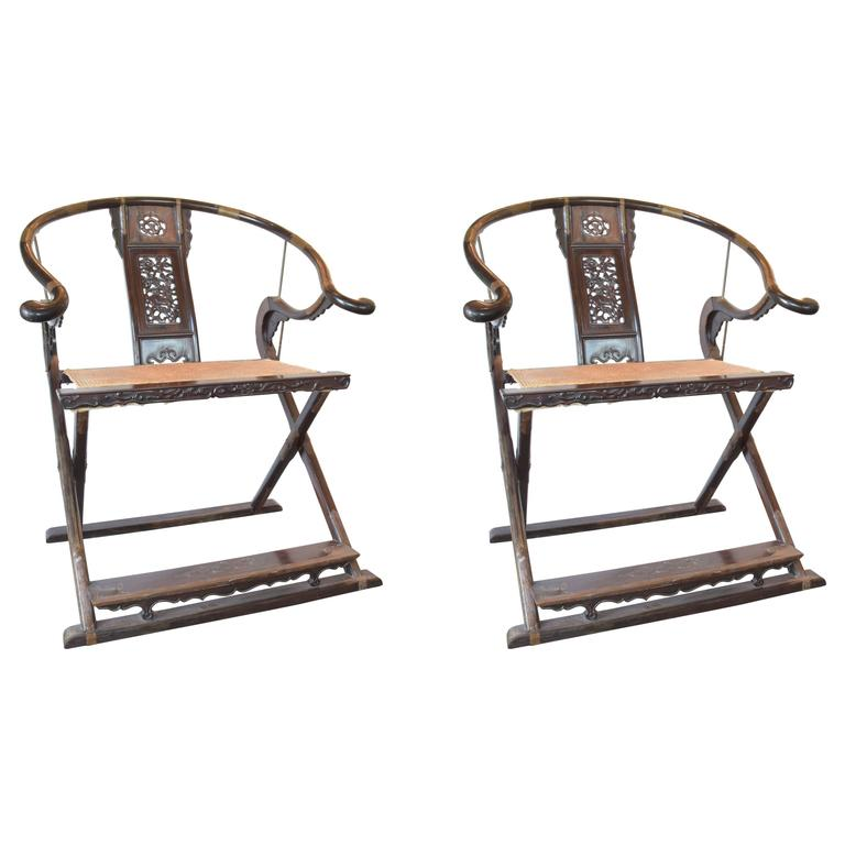 Pair Chinese Folding Chairs, Late 19th Century For Sale
