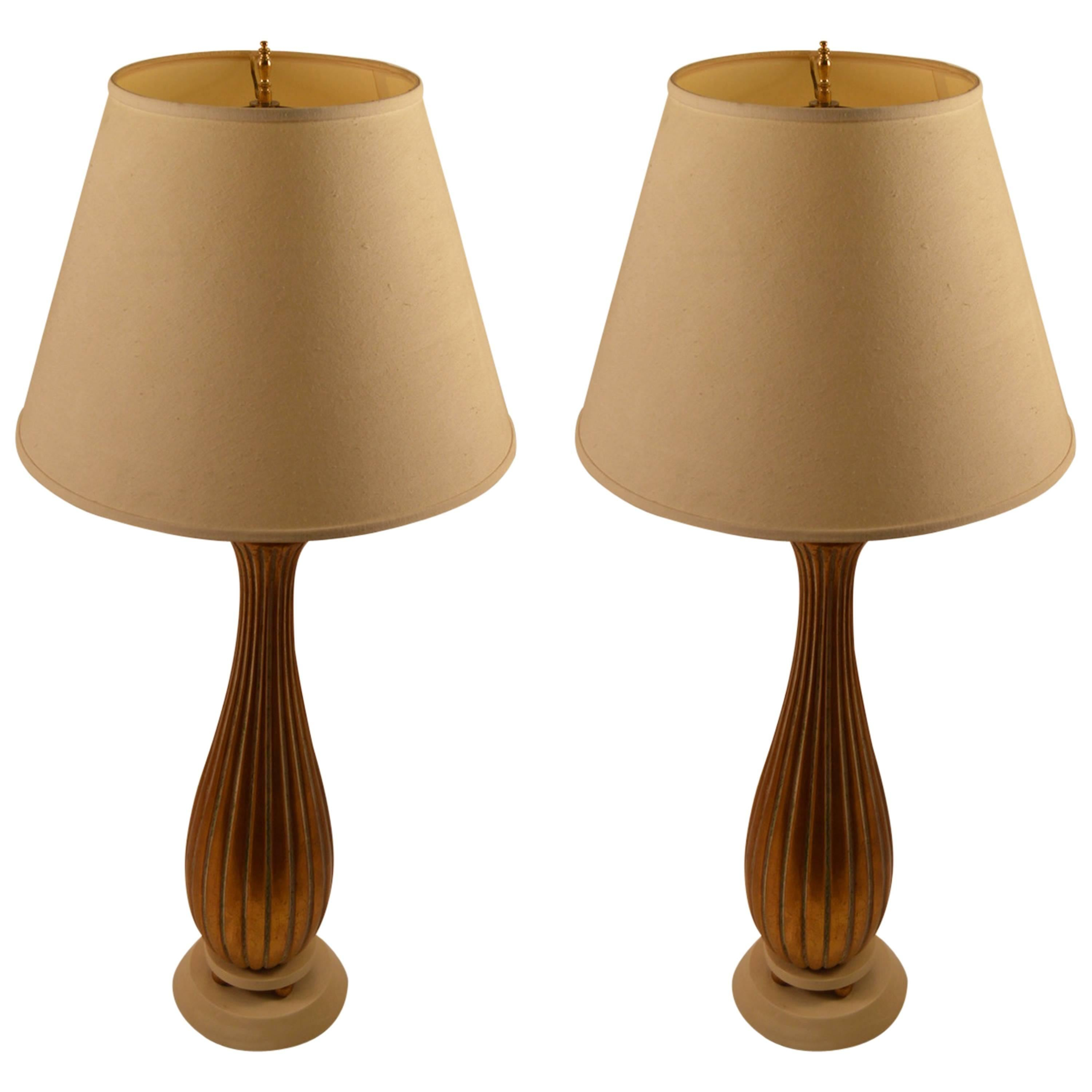 Pair of Reeded Giltwood Table Lamps