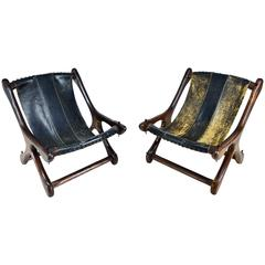 """Don Shoemaker Pair of Sling """"Sloucher"""" Chairs"""