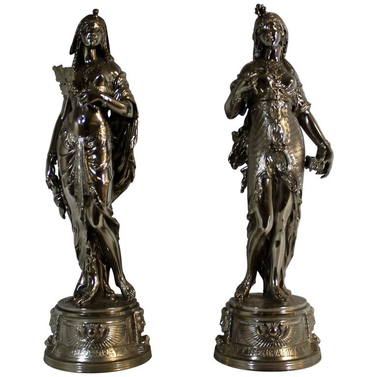 Charles Anfrie French Bronze and Nickel Plated Mythological Greek Sculptures