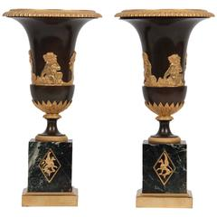 Pair of Directorie Gilt Bronze-Mounted Urns